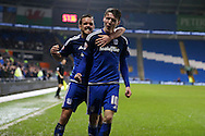 Joe Mason of Cardiff city (10) celebrates with his teammate Craig Noone after he scores his teams 1st goal. Skybet football league championship match, Cardiff city v Blackburn Rovers at the Cardiff city stadium in Cardiff, South Wales on Saturday 2nd Jan 2016.<br /> pic by Andrew Orchard, Andrew Orchard sports photography.