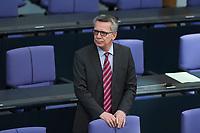 17 FEB 2016, BERLIN/GERMANY:<br /> Thomas de Maiziere, CDU, Bundesinnenminister, vor Beginn der Sitzung mit Regierunsgerklaerung der Bundeskanzlerin zum Europaeischen Rat, Plenum, Deutscher Bundestag<br /> IMAGE: 20160217-03-003<br /> KEYWORDS: Debatte, Thomas de Maizière