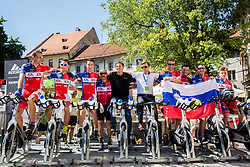 Miro Cerar and Gregor Macedoni with recreational riders of KK Adria Mobil on spinning bikes after the last Stage 4 of 24th Tour of Slovenia 2017 / Tour de Slovenie from Rogaska Slatina to Novo mesto (158,2 km) cycling race on June 18, 2017 in Slovenia. Photo by Vid Ponikvar / Sportida