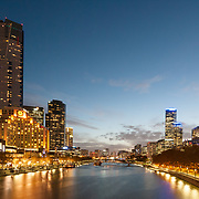 Yarra River and Southbank Melbourne at dusk