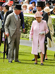HM The QUEEN and HRH The PRINCE OF WALES at day two of the Royal Ascot 2016 Racing Festival at Ascot Racecourse, Berkshire on 15th June 2016.