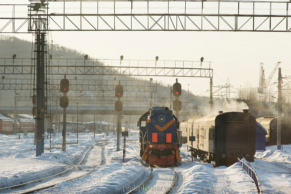 Trains at Tynda station, Amur region, Siberior, Russia