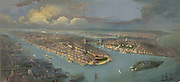 Bird's-eye view of New York  city and harbour with New Jersey waterfront, left. Governor's Island and Battery Park, foreground. Centre is Brooklyn Bridge (1883) over the East River connecting Brooklyn and Manhattan.  America USA