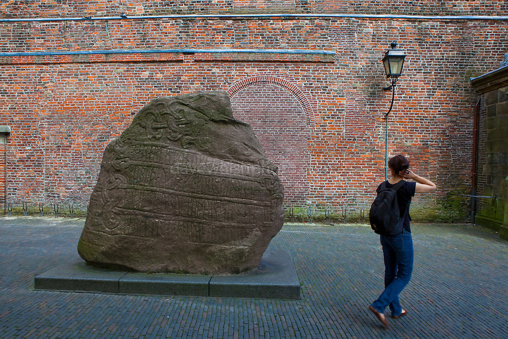 Jelling stone, a copy of the Harald Bluetooth stone, from Jelling, Denmark, presented to the University of Utrecht in 1936 on the 300th anniversary of its founding.