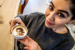 Royal Selfiechino - A cappuchino with a picture printed on top , you can make your own selfiechino in coffiebar Armada in Rotterdam, Netherlands on January 4, 2018. King Willem - Alexander, Queen Maxima, Princess Amalia, Ariane And Alexia, Prince Harry and Megan Markle. Photo by Robin Utrecht/ABACAPRESS.COM