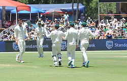 Pretoria 26-12-18. The 1st of three 5 day cricket Tests, South Africa vs Pakistan at SuperSport Park, Centurion. Day 1. Duanne Olivier has team mates running toward him after taking the wicket of Pakistan batsman Asad Shafiq.<br /> Picture: Karen Sandison/African News Agency(ANA)