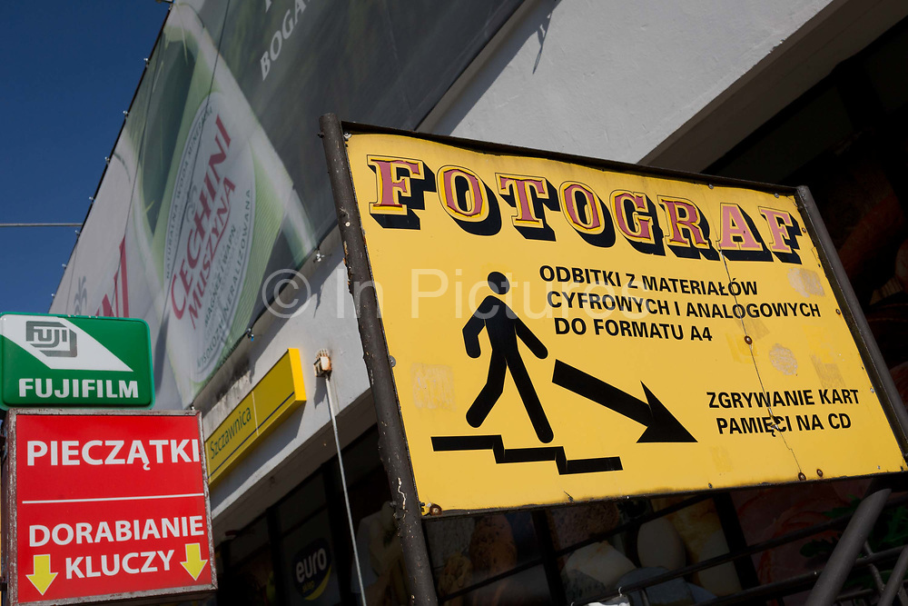 Polish advertising signs, on 21st September 2019, in Szczawnica, Malopolska, Poland.
