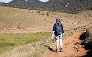 Walker in Horton Plains national park montane grassland environment, Sri Lanka, Asia