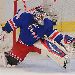 May 12, 2012: New York Rangers goalie Henrik Lundqvist (30) reacts to an awkward rebound in his crease during first period action in game 7 of the NHL Eastern Conference Semi-finals between the Washington Capitals and New York Rangers at Madison Square Garden in New York, N.Y.