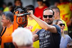 Fan of Tim Gajser holding up the traditional chansaw before sprejem Tima Gajsreja, on Avgust 27, 2019 in Maribor, Slovenia. Photo by Blaž Weindorfer / Sportida