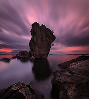 Long exposure and streaking sunset clouds, Lone Rock Point, Lake Champlain, Burlington, Vermont