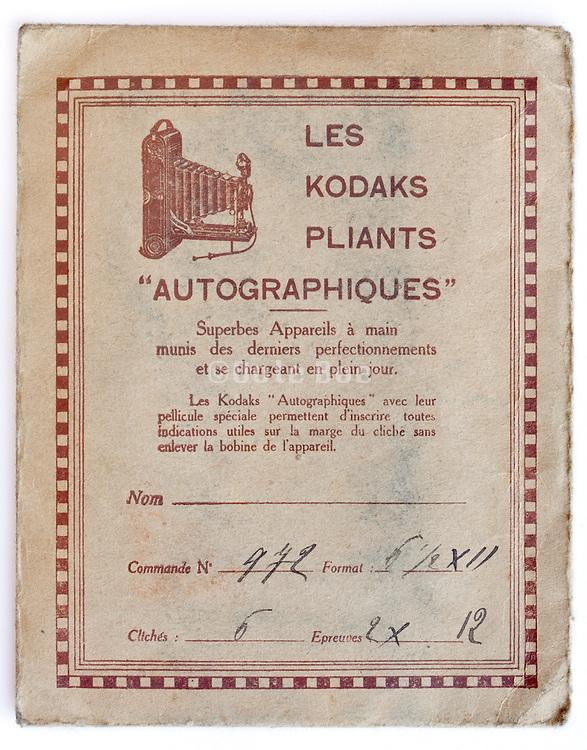 vintage Kodak film and prints envelope 1910s France
