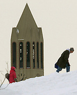 Snow never seemed to stop pilling up, but it didn't stop people from enjoying outside winter activities at Memorial Park across the street from the University of Nebraska at Omaha.