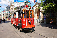 historic tram of stiklal Avenue or Istiklal Street (stiklâl Caddesi, French: Grande Rue de Péra, or Independence Avenue)  one of the most famous avenues in Istanbul, Turkey .<br /> <br /> If you prefer to buy from our ALAMY PHOTO LIBRARY  Collection visit : https://www.alamy.com/portfolio/paul-williams-funkystock/istanbul.html<br /> <br /> Visit our TURKEY PHOTO COLLECTIONS for more photos to download or buy as wall art prints https://funkystock.photoshelter.com/gallery-collection/3f-Pictures-of-Turkey-Turkey-Photos-Images-Fotos/C0000U.hJWkZxAbg