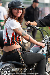 Sarah Belle at the Spirit of Sturgis antique motorcycle flat track race at the historic Sturgis Half Mile during the 78th annual Sturgis Motorcycle Rally. Sturgis, SD. USA. Monday August 6, 2018. Photography ©2018 Michael Lichter.