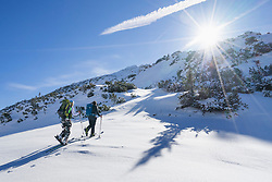 Ski touring in back country, Bavaria, Germany