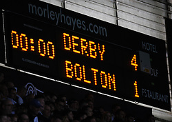 General view of the scoreboard as Bolton Wanderers are relegated to league 1 - Mandatory by-line: Jack Phillips/JMP - 09/04/2016 - FOOTBALL - iPro Stadium - Derby, England - Derby County v Bolton Wanderers - Sky Bet Championship