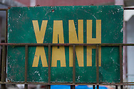 Propaganda sign about cleaness in Tam Dao, Vietnam, Asia. Xanh means green color