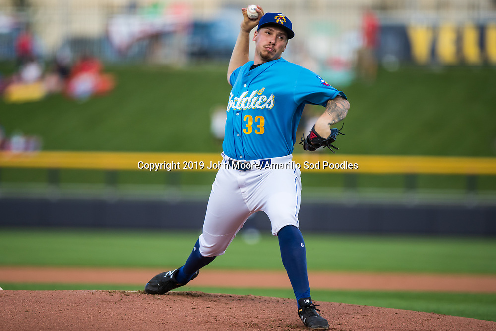 Amarillo Sod Poodles pitcher Lake Bachar (33) pitches against the Tulsa Drillers during the Texas League Championship on Tuesday, September 10, 2019, at HODGETOWN in Amarillo, Texas. [Photo by John Moore/Amarillo Sod Poodles]
