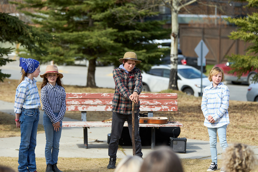 L-R<br /> Gwendolyn Elliott-Stamp as Beatrice.<br /> Isla Gans as Hero.<br /> Finegand Bradford as Leonato.<br /> Sloane Tarapaski as the Messenger.<br /> <br /> Yukon Montessori School performed Shakespeare's Much Ado About Nothing in Helicopter Park on May 19 in Whitehorse, Yukon Canada.