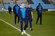 Wimbledon midfielder Alfie Egan (28)  arrives with his team mates during the EFL Sky Bet League 1 match between Coventry City and AFC Wimbledon at the Ricoh Arena, Coventry, England on 12 January 2019.