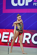 Demirors Derya during Qualification clubs World Cup Pesaro 2018. Derya is a Turkey athlete of rhythmic gymnastics born in Konak in 2002.