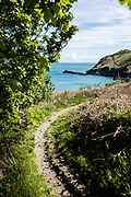 Walking paths along the north coast of Jersey, CI with views out to sea and across the cliffs and headland
