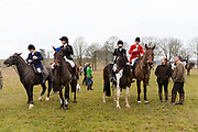 Horses and riders prepare to take part in the traditional Chiddingfold, Leconfield and Cowdray Boxing Day Hunt, which sets off from the kennels at Petworth House in Petworth Park, West Sussex, UK on December 26, 2018