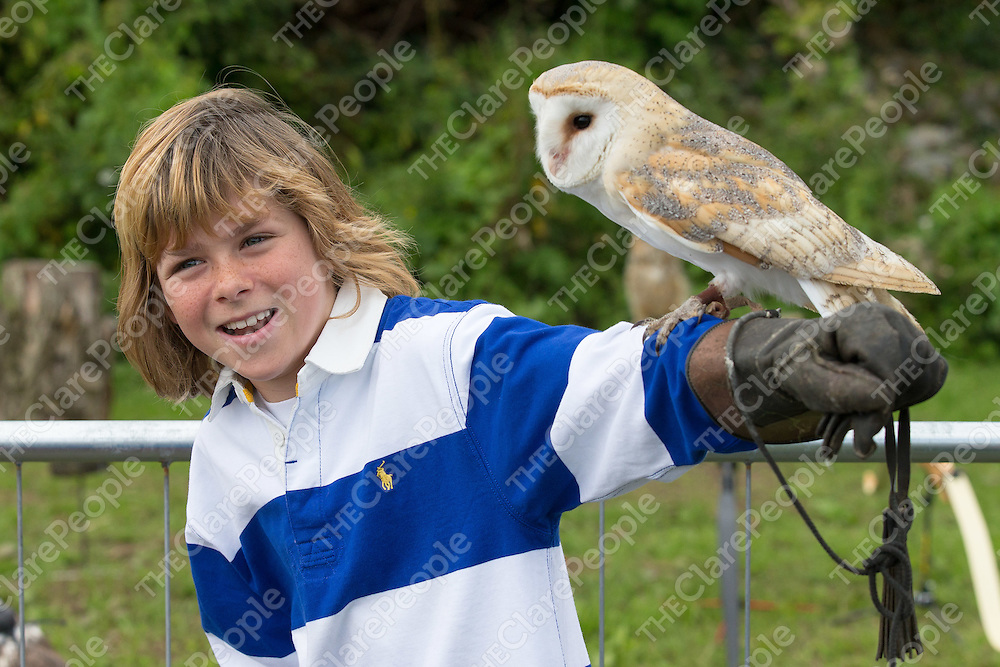 Conan Brodie from Barefield with a barn owl at the 2016 Clarecastle Agricultural Show