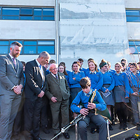 President Higgins is welcomed to Kinsale Community School by Principal Fergal McCarthy and pupils with piper Fergus Walsh from Belgooly and County Mayor Cllr Christopher O'Sullivan.<br /> Picture. John Allen