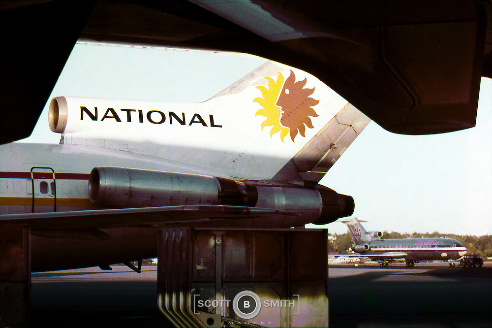 National Airlines 727 on the ramp in San Diego, 1973.