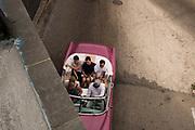 A trip through Havana in an old car, Cuba.