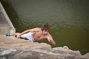 Chris Sharma before winning the Red Bull Creepers in Puente La Reina, Spain.