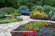 63821-21617 Blue bench, bird bath and stone path in flower garden.  Black-eyed Susans (Rudbeckia hirta)  Red Dragon Wing Begonias (Begonia x hybrida) Homestead Purple Verbena, New Gold Lantana, Red Verbena, Butterfly Bushes,  Marion Co., IL