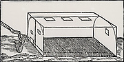 Brass furnace, showing tongs for lifting crucibles of metal in and out.  From 'De la pirotechnia' by Vannoccio Biringuccio (Venice, 1540).