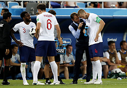 (l-r) Danny Rose of England, Harry Maguire of England, coach Gareth Southgate of England, Eric Dier of England during the 2018 FIFA World Cup Russia group G match between England and Belgium at the Kalingrad stadium on June 28, 2018 in Kaliningrad, Russia