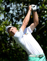 May 3, 2018 - Charlotte, NC, USA - Peter Malnati watches his drive from the 16th tee during he first round of the Wells Fargo Championship at Quail Hollow Club in Charlotte, N.C., on Thursday, May 3, 2018. (Credit Image: © Jeff Siner/TNS via ZUMA Wire)