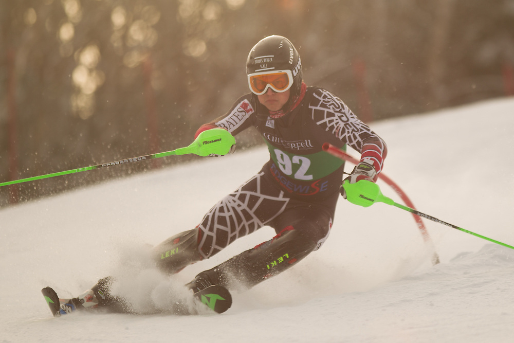 Hunter Lord of Bates College, skis during the first run of the men's slalom at the Colby College Carnival at Sugarloaf Mountain on January 18, 2014 in Carabassett Valley, ME. (Dustin Satloff/EISA)