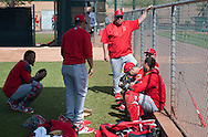 Manager Mike Scioscia talks with his catchers during workouts at the Angels' Spring Training facility in Tempe, AZ on Wednesday, February 22, 2017. (Photo by Kevin Sullivan, Orange County Register/SCNG)