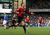 Photo: Paul Thomas.<br /> Everton v Manchester United. The Barclays Premiership. 28/04/2007.<br /> <br /> Chris Eagles celebrates Utd's fourth goal.