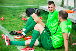 Sinisa Marinovic of ND Ilirija and Matevz Fortin of ND Ilirija during football match between ND Ilirija 1911 and NK Krsko in 1st Round of Slovenian Football Cup 2017/18, on August 16, 2017 in Stadium Ilirija, Ljubljana, Slovenia. Photo by Vid Ponikvar / Sportida