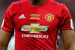 A close up of the Manchester United home jersey with EFL Cup final stitching  - Mandatory by-line: Matt McNulty/JMP - 26/02/2017 - FOOTBALL - Wembley Stadium - London, England - Manchester United v Southampton - EFL Cup Final