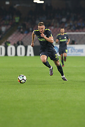 October 21, 2017 - Napoli, Campania/Napoli, Italy - Action during soccer match between SSC Napoli  and  F.C.Inter    at San Paolo  Stadium in Napoli .final result Napoli vs. F.C.Inter 0-0.In picture Milan Åkriniar  (Credit Image: © Salvatore Esposito/Pacific Press via ZUMA Wire)