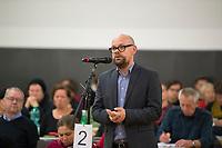 DEU, Deutschland, Germany, Berlin, 10.12.2016: Tobias Schulze, stv. Linken-Landesvorsitzender, Landesparteitag von Die Linke im WISTA-Veranstaltungszentrum Adlershof.