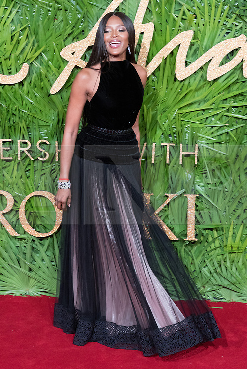 © Licensed to London News Pictures. 04/12/2017. London, UK. NAOMI CAMPBELL arrives for The Fashion Awards 2017 held at the Royal Albert Hall. Photo credit: Ray Tang/LNP