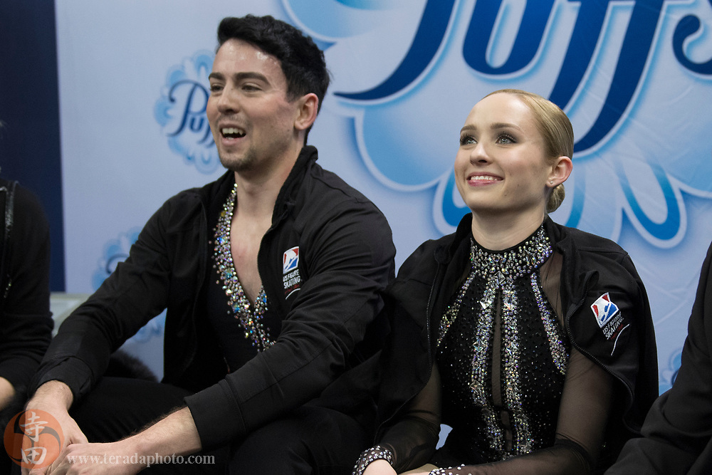 January 4, 2018; San Jose, CA, USA; Caitlin Fields and Ernie Utah Stevens smile in the kiss and cry after skating in the pairs short program during the 2018 U.S. Figure Skating Championships at SAP Center.