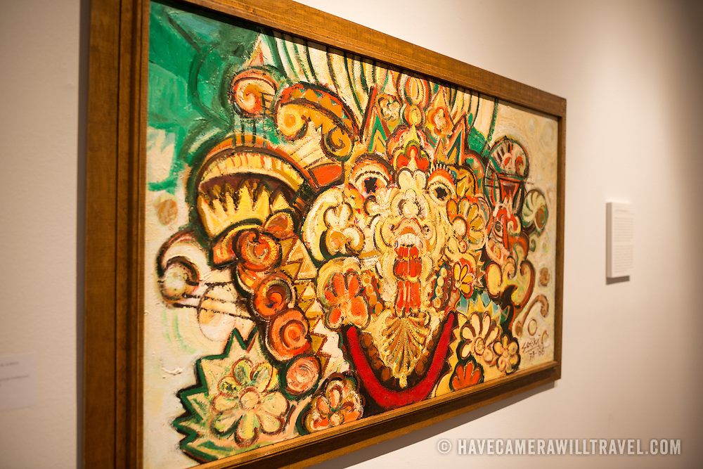 Untitled (1986) by Soeki Irodikromo of the Caribbean nation of Suriname on display at the Art Museum of the Americas in Washington DC as part of the museum's exhibit titled Fusion: Tracing Asian Migration to the Americas Through AMA's Collection.