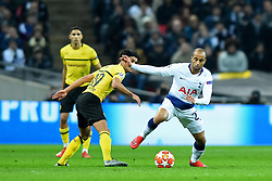 February 13, 2019 - London, England, United Kingdom - Tottenham midfielder Lucas Moura shakes off a challenge from Borussia Dortmund midfielder Mahmoud Dahoud during the UEFA Champions League match between Tottenham Hotspur and Ballspielverein Borussia 09 e.V. Dortmund at Wembley Stadium, London on Wednesday 13th February 2019. (Credit: Jon Bromley | MI News & Sport Ltd) (Credit Image: © Mi News/NurPhoto via ZUMA Press)