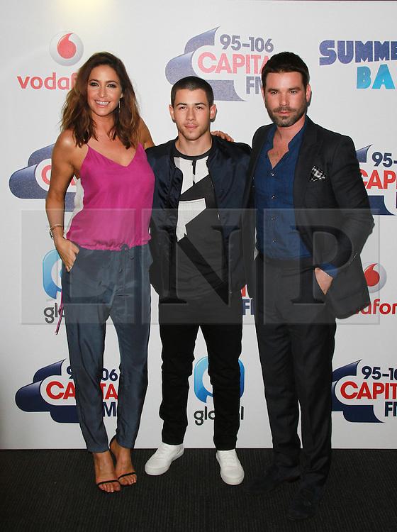© London News Pictures. Lisa Snowdon, Nick Jonas & Dave Berry, Capital FM Summertime Ball, Wembley Stadium, London UK, 06 June 2015, Photo by Brett D. Cove /LNP
