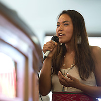 081215      Cayla Nimmo<br /> <br /> Nadine Narindrankura from Big Mountain, Arizona questions an EPA representative about the lasting effects of the Colorado gold mine spill on the Navajo Nation during a chapter meeting in Shiprock Wednesday.